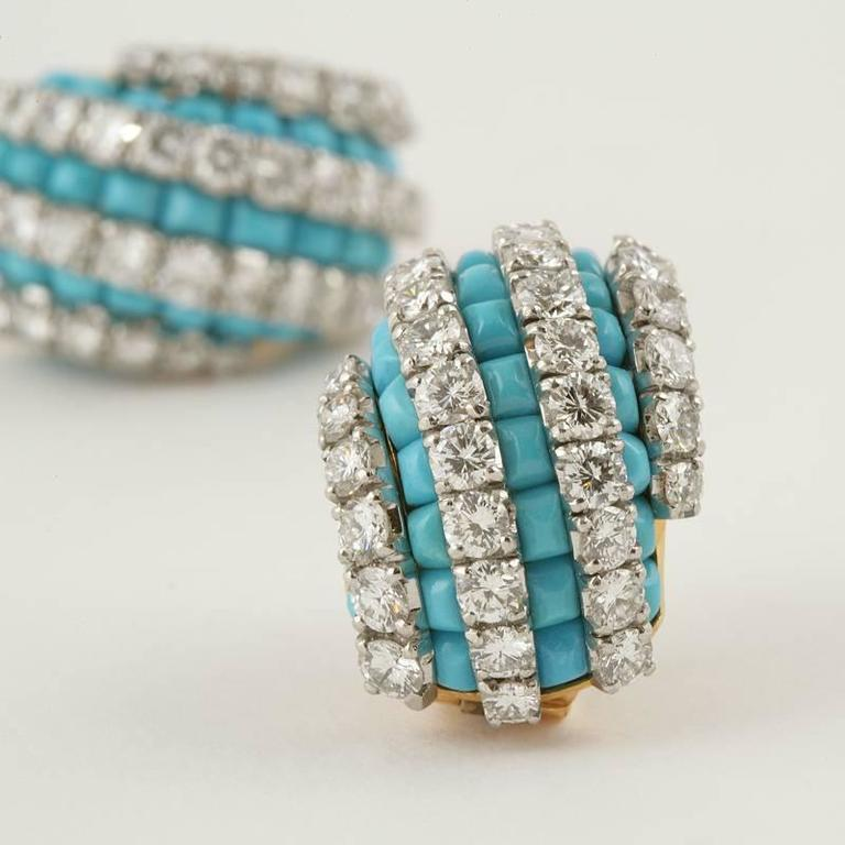 Van Cleef & Arpels Mid-20th Century Turquoise Diamond Gold Platinum Earrings 5