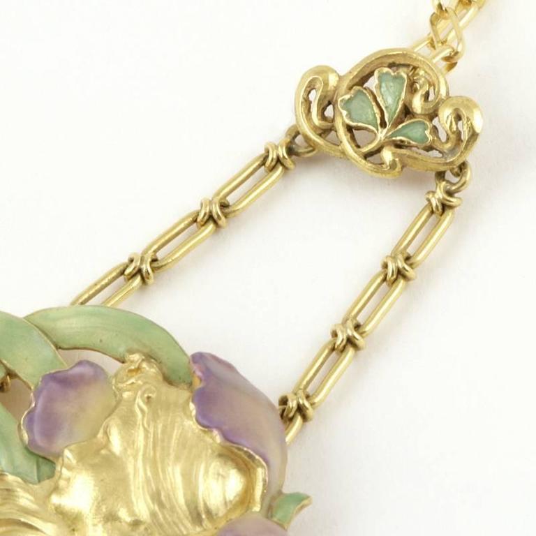 Women's André Rambour French Art Nouveau Enamel Gold Pendant For Sale