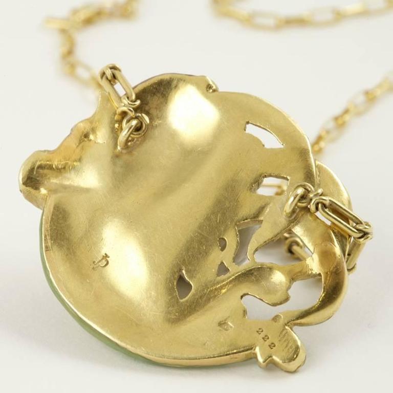 André Rambour French Art Nouveau Enamel Gold Pendant For Sale 1