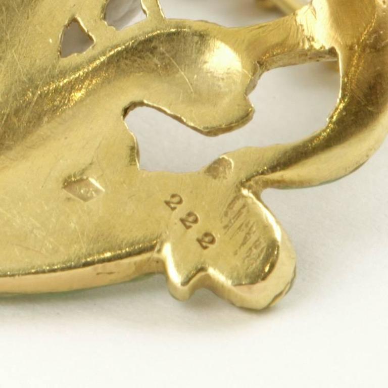 André Rambour French Art Nouveau Enamel Gold Pendant For Sale 3