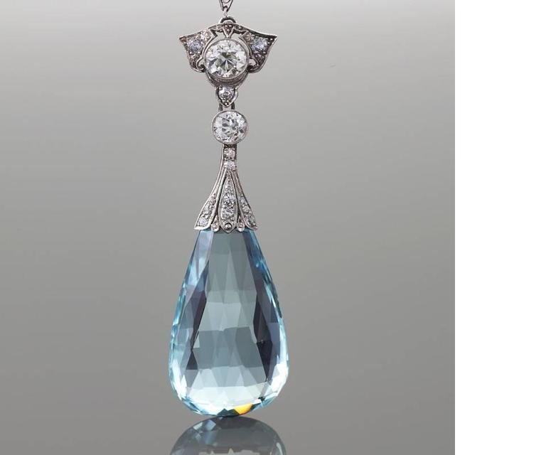 Edwardian Aquamarine Diamond Platinum Necklace 2