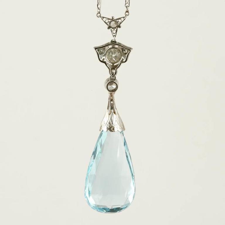 Edwardian Aquamarine Diamond Platinum Necklace 3