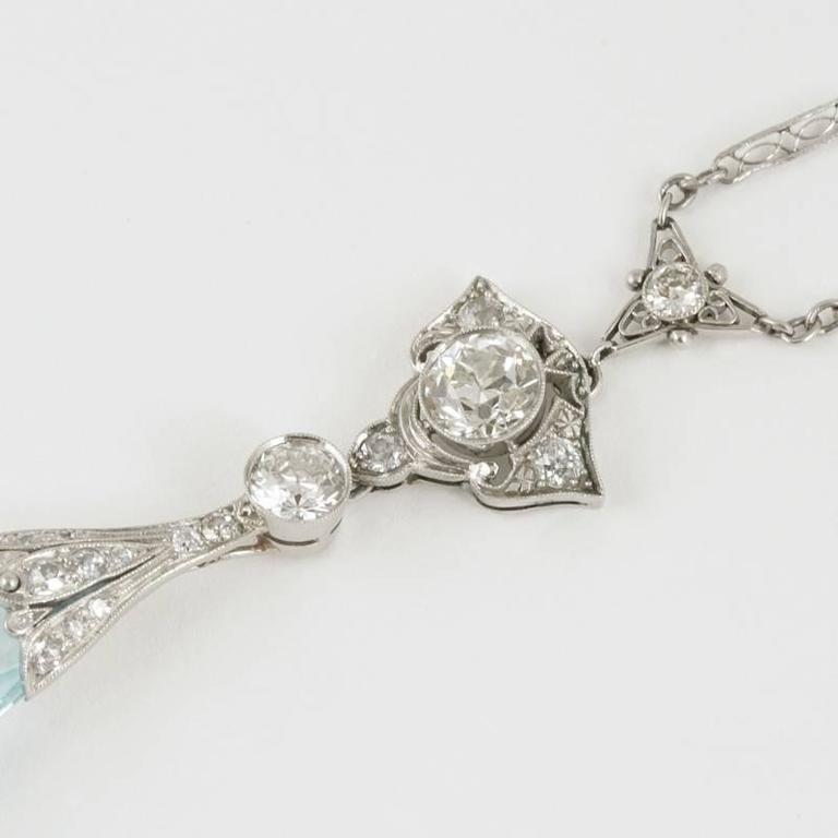 Edwardian Aquamarine Diamond Platinum Necklace 4