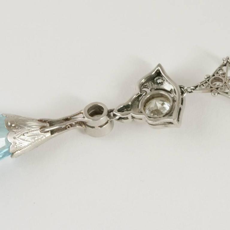 Edwardian Aquamarine Diamond Platinum Necklace 5