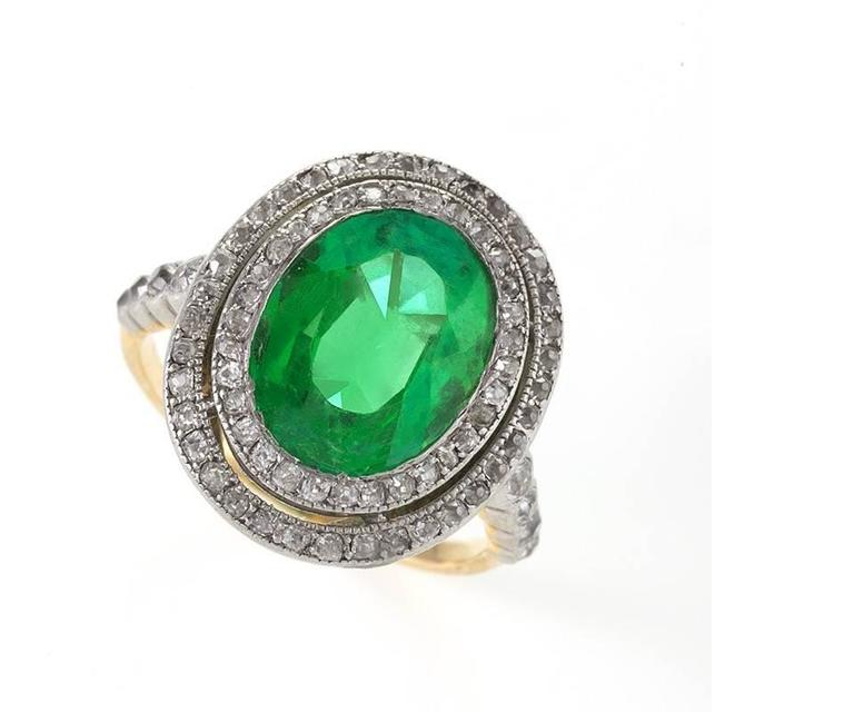 Edwardian Colombian Emerald and Diamond Halo Ring  For Sale
