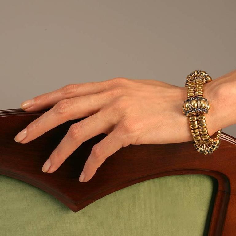 Boucheron Paris 1930s Retro Blue Sapphire Diamond Gold Bracelet For Sale 5