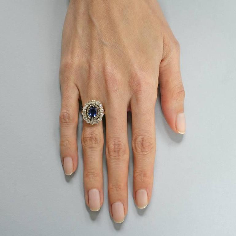 Women's English Antique Sapphire Diamond Silver Gold Cluster Ring For Sale