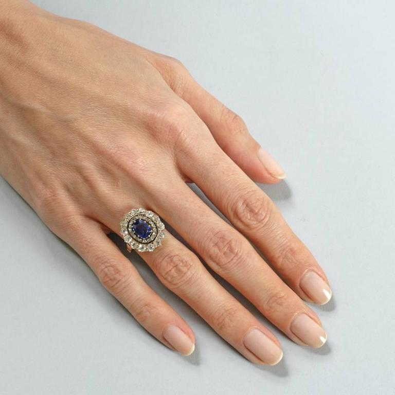 English Antique Sapphire Diamond Silver Gold Cluster Ring For Sale 1