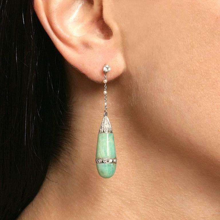 Art Deco Jadite Jade, Diamond, Pearl and Platinum Earrings 2