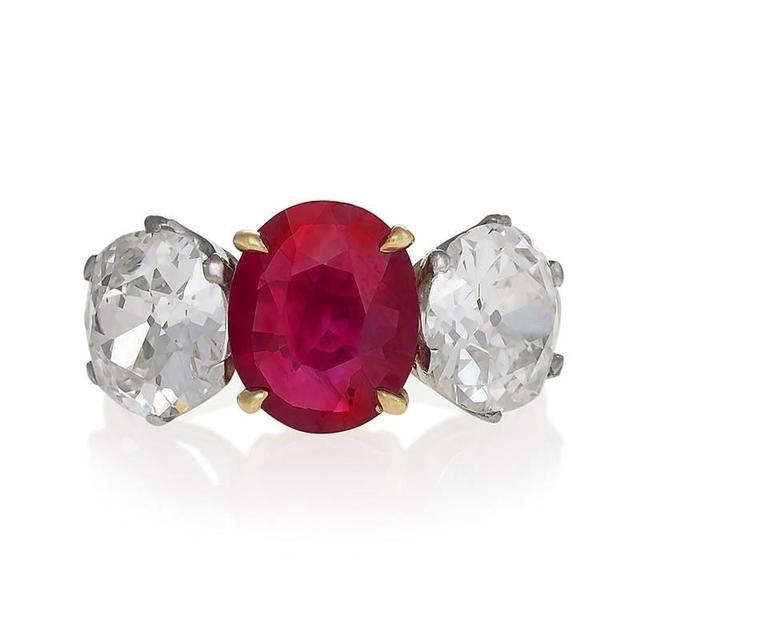 Burma Ruby Diamond Platinum Three-Stone Ring In Excellent Condition For Sale In New York, NY