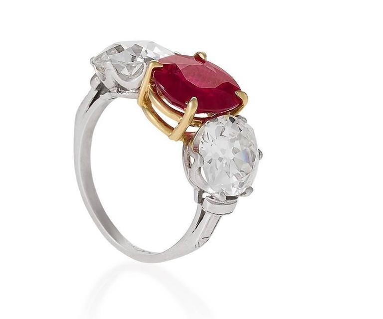 Women's Burma Ruby Diamond Platinum Three-Stone Ring For Sale