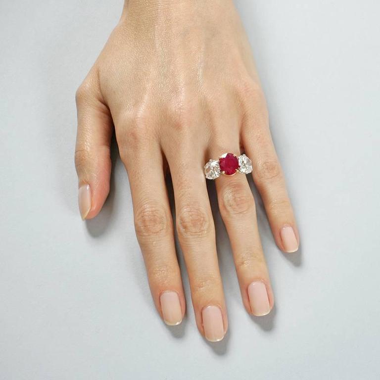 Burma Ruby Diamond Platinum Three-Stone Ring For Sale 1