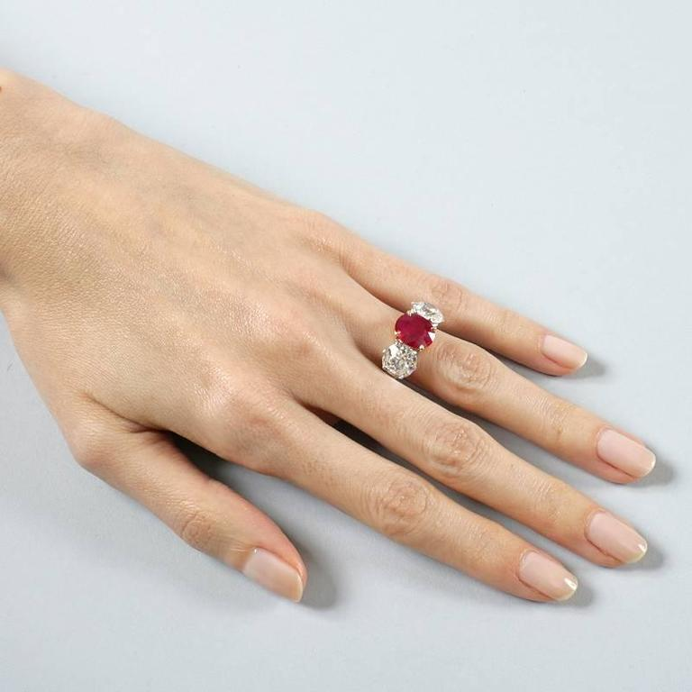 Burma Ruby Diamond Platinum Three-Stone Ring For Sale 2