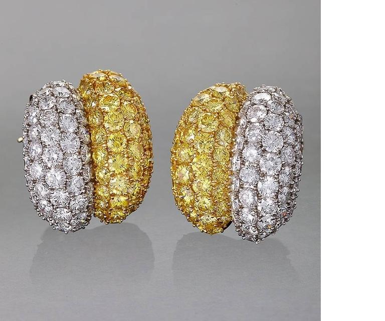 Van Cleef & Arpels White and Natural Fancy Vivid Diamond Earrings In Excellent Condition For Sale In New York, NY