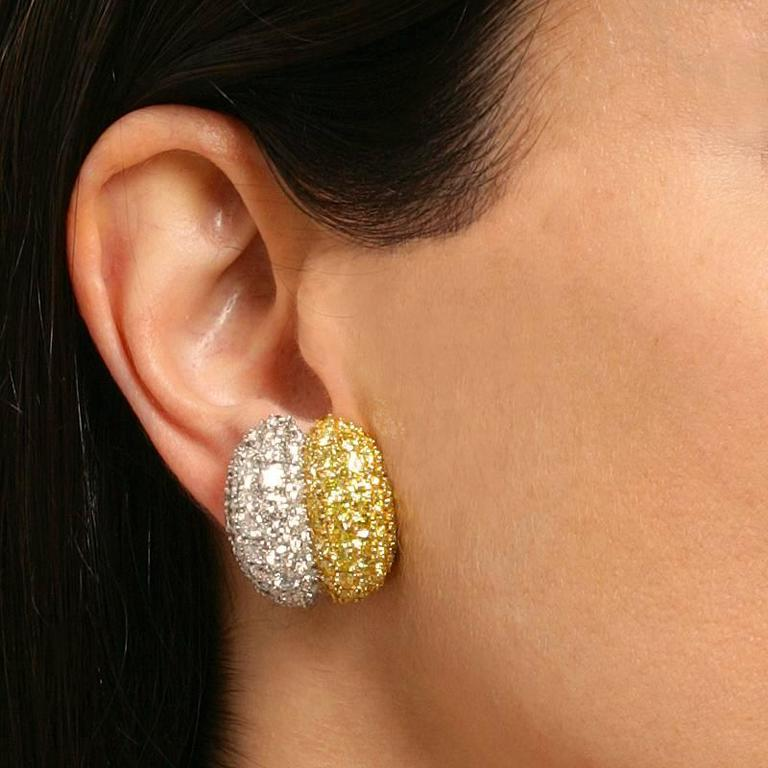 Women's Van Cleef & Arpels White and Natural Fancy Vivid Diamond Earrings For Sale