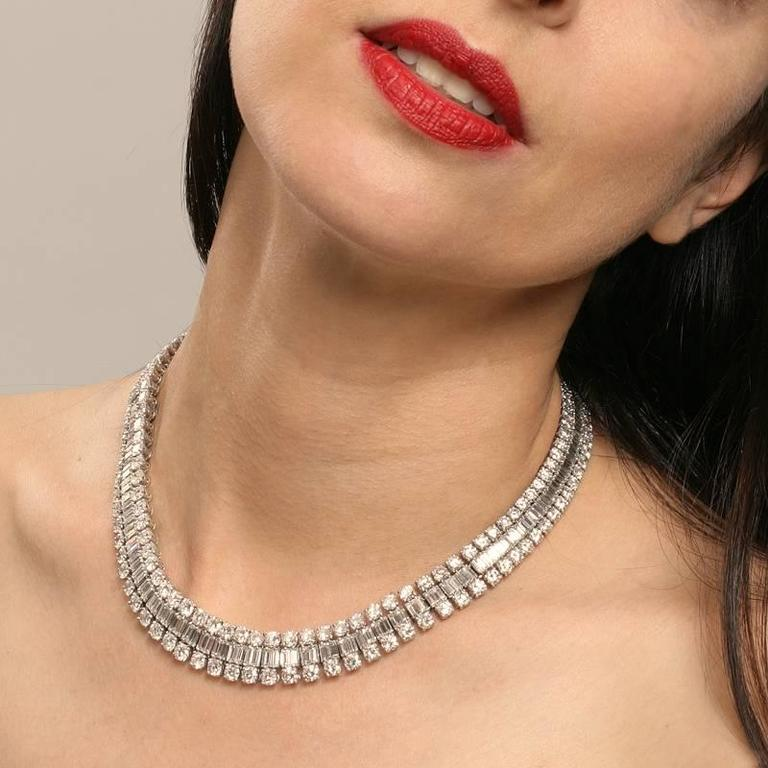 Mellerio Dits Meller Paris 1950s Diamond Platinum Necklace and Tiara For Sale 5