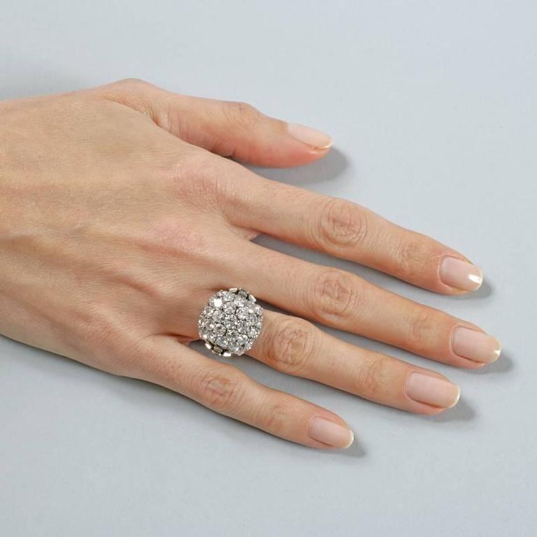 Boucheron Paris 1950's Diamond Gold and Platinum Bombé Ring 5