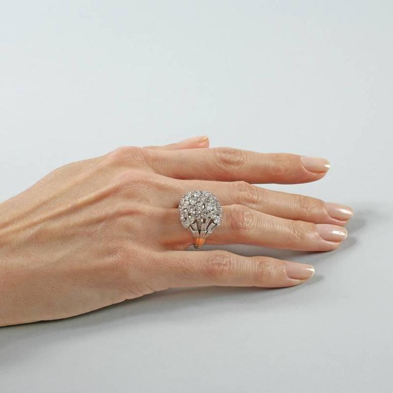 Boucheron Paris 1950's Diamond Gold and Platinum Bombé Ring 6