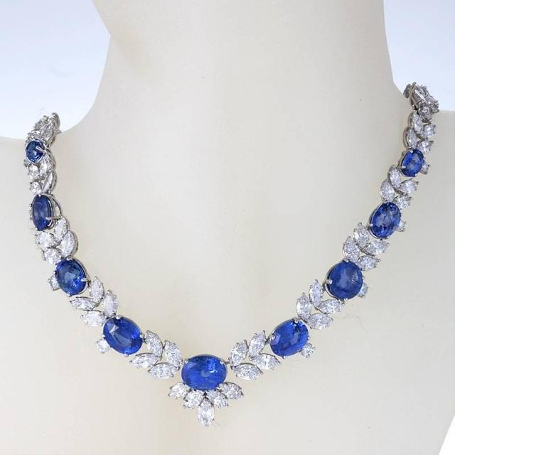Women's 1980s Sapphire Diamond Platinum Necklace For Sale