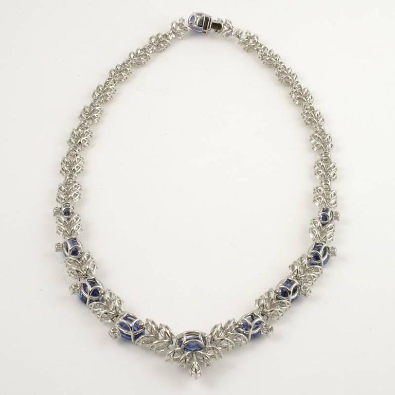 1980s Sapphire Diamond Platinum Necklace For Sale 2