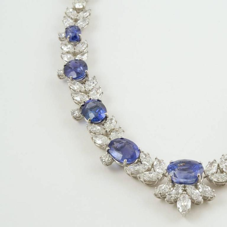 1980s Sapphire Diamond Platinum Necklace For Sale 3