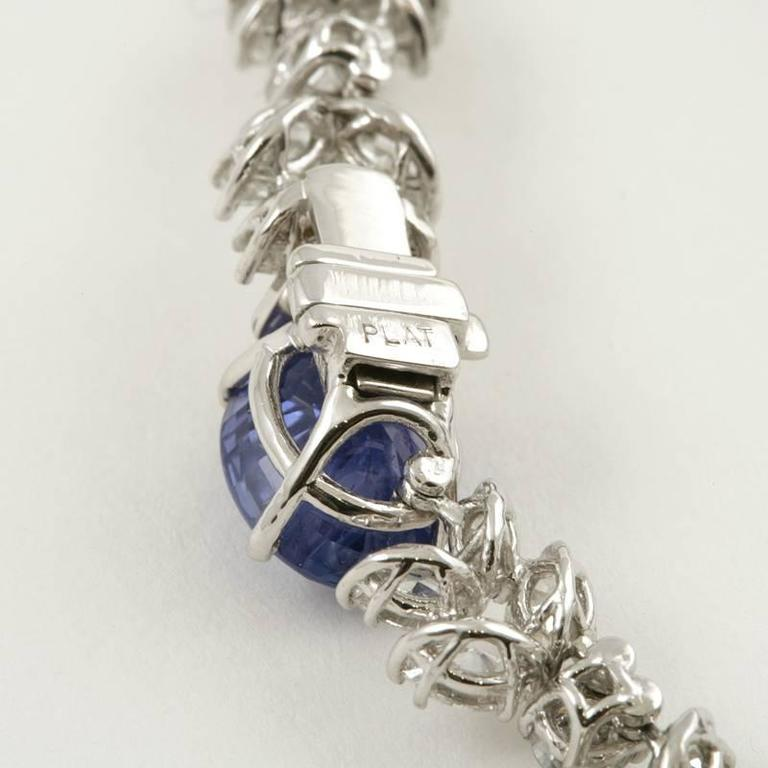1980s Sapphire Diamond Platinum Necklace For Sale 4
