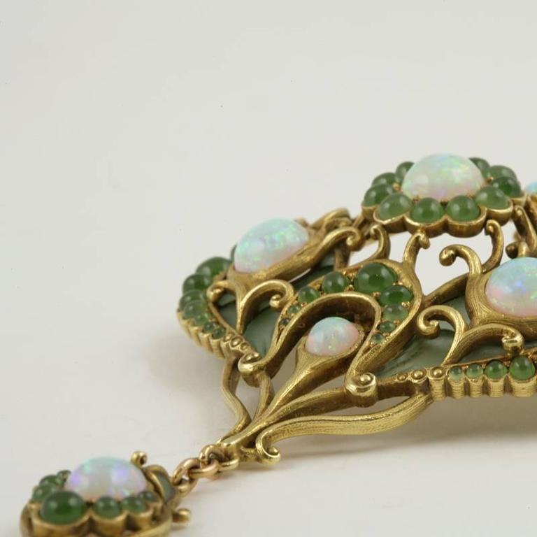 Men's Marcus & Co. Art Nouveau White Opal, Chrysoprase, Enamel and Gold Pendant Brooch For Sale