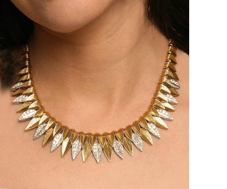 Women's or Men's Cartier Paris 1950's Diamond, Gold and Platinum Fringe Necklace For Sale
