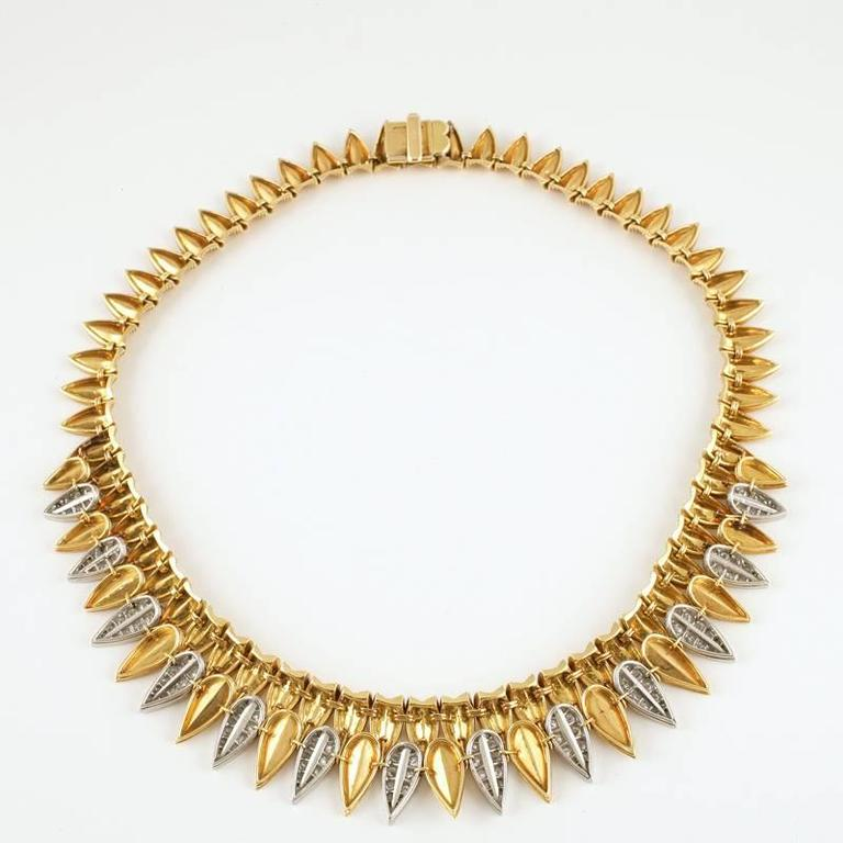 Cartier Paris 1950's Diamond, Gold and Platinum Fringe Necklace In Excellent Condition For Sale In New York, NY