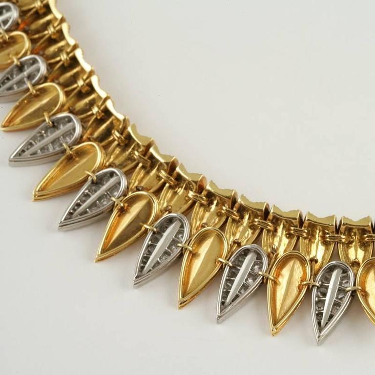 Cartier Paris 1950's Diamond, Gold and Platinum Fringe Necklace For Sale 1