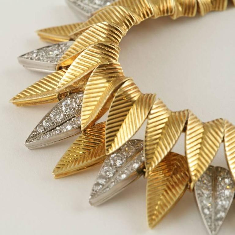 Cartier Paris 1950's Diamond, Gold and Platinum Fringe Necklace For Sale 4