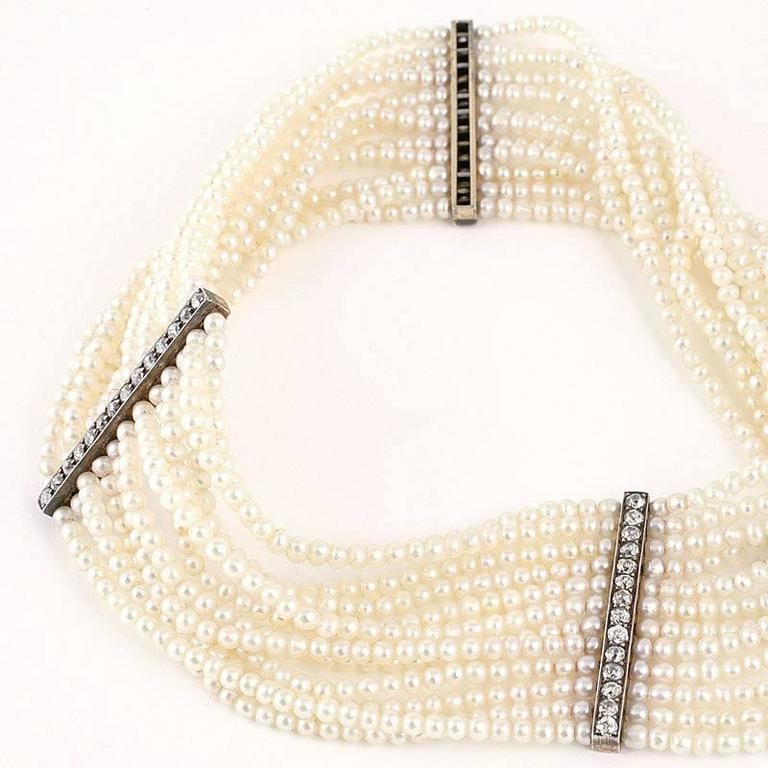 Edwardian Seed Pearl and Diamond Choker In Excellent Condition For Sale In New York, NY