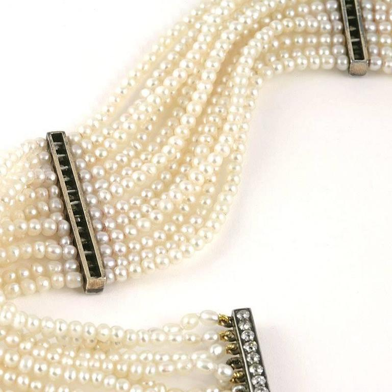 Women's Edwardian Seed Pearl and Diamond Choker For Sale