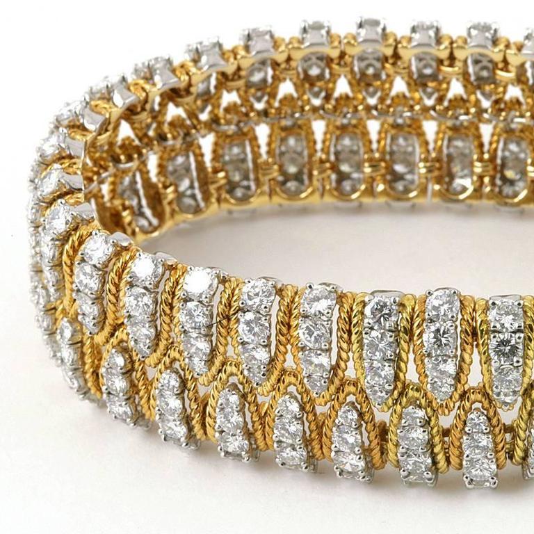 Women's Flexible Gold and Diamond Bracelet  For Sale
