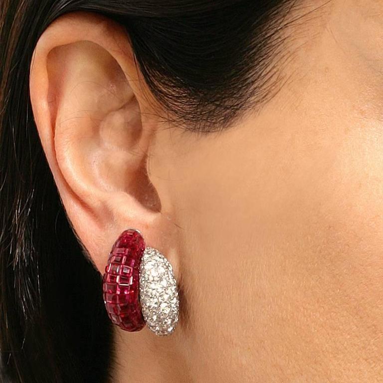 Van Cleef & Arpels Late-20th Century Ruby Diamond Platinum 'Mystère' Earrings 10