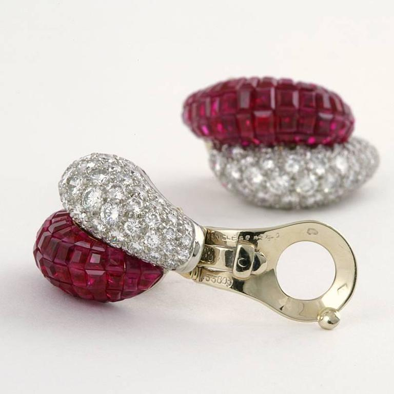 Van Cleef & Arpels Late-20th Century Ruby Diamond Platinum 'Mystère' Earrings 5