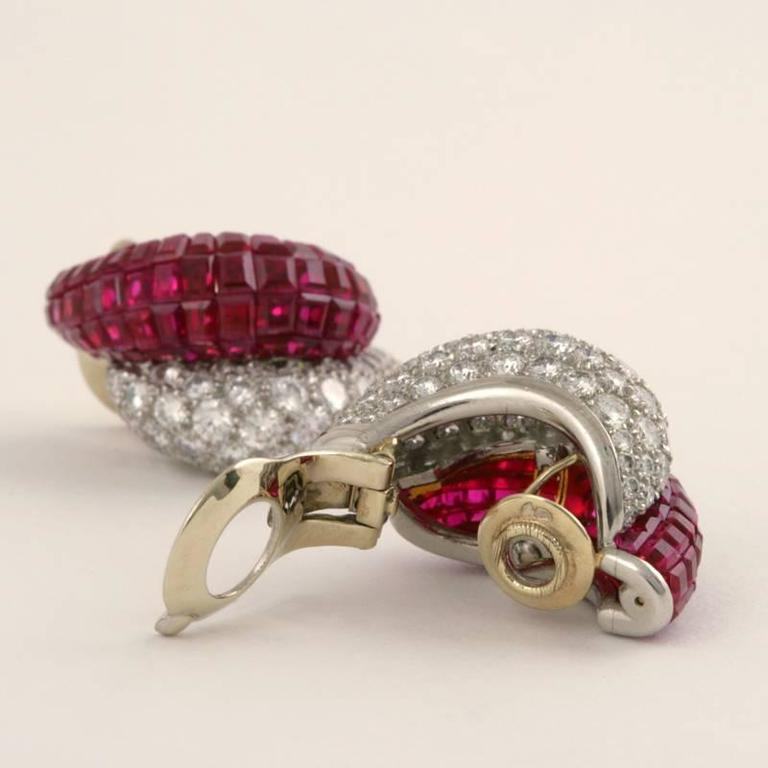 Van Cleef & Arpels Late-20th Century Ruby Diamond Platinum 'Mystère' Earrings 6