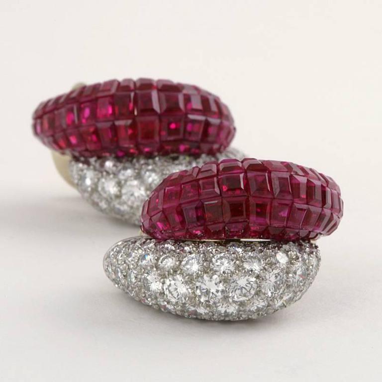 Van Cleef & Arpels Late-20th Century Ruby Diamond Platinum 'Mystère' Earrings 8