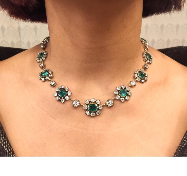 Women's Antique English Emerald and Diamond Cluster Necklace For Sale