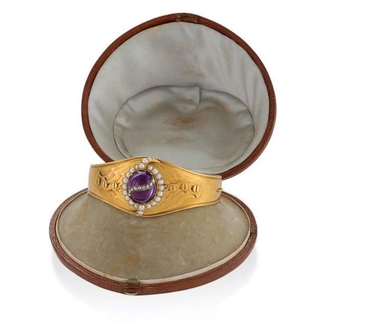 English Victorian Amethyst Pearl and Diamond Cuff Bracelet 3