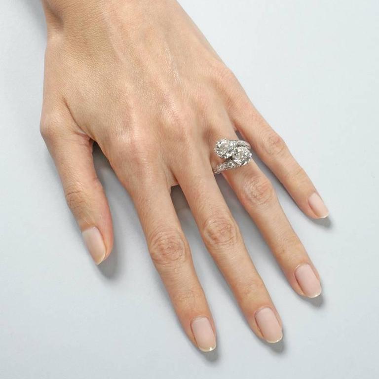 Early Art Deco Diamond Platinum Crossover Ring 1