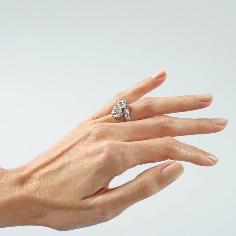 Early Art Deco Diamond Platinum Crossover Ring 2
