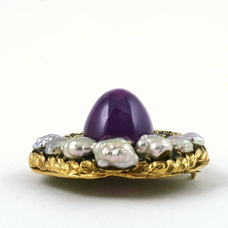 Women's Louis Comfort Tiffany Arts and Crafts Pearl Sapphire and Gold Brooch For Sale