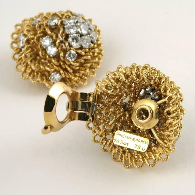 1960's Van Cleef & Arpels Diamond Gold Platinum Earrings 2