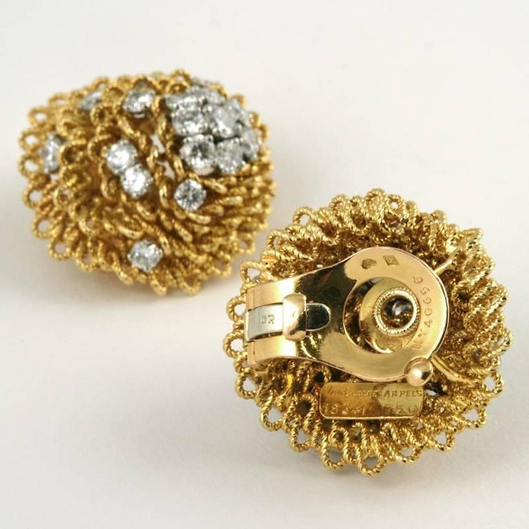 1960's Van Cleef & Arpels Diamond Gold Platinum Earrings 3