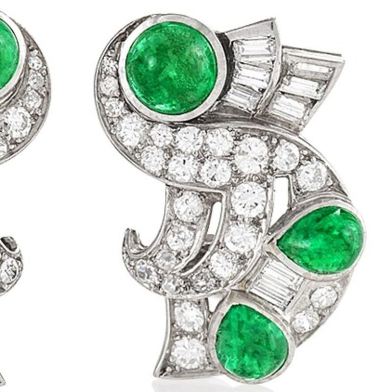 Women's Retro Diamond Emerald and Platinum Earrings For Sale