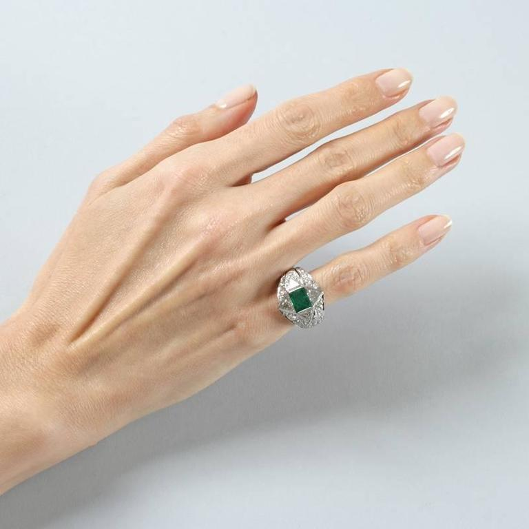 Women's 1950s Emerald Diamond and Platinum Ring For Sale