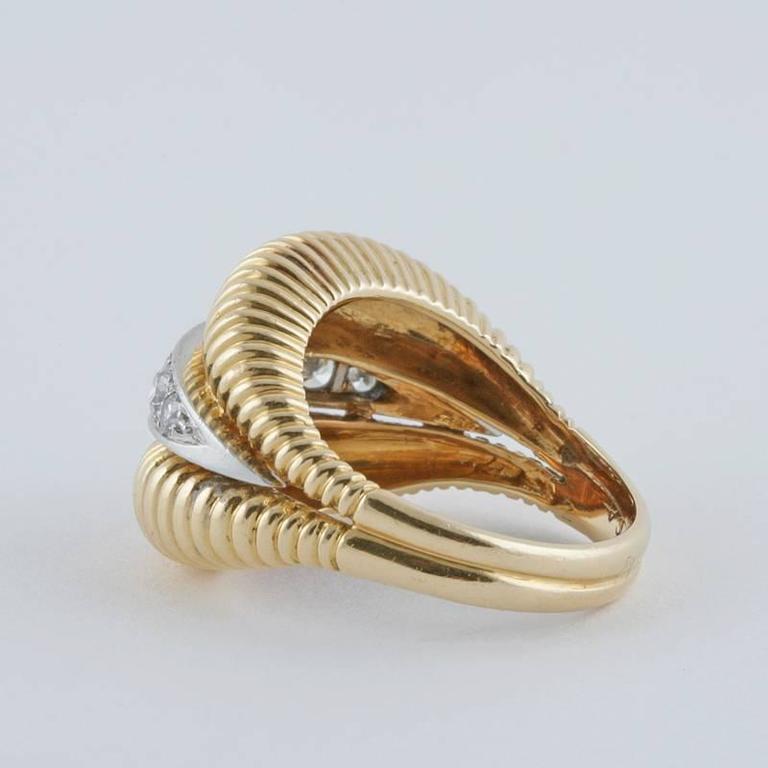 Women's Van Cleef & Arpels 1950's Diamond Gold Platinum Ring For Sale