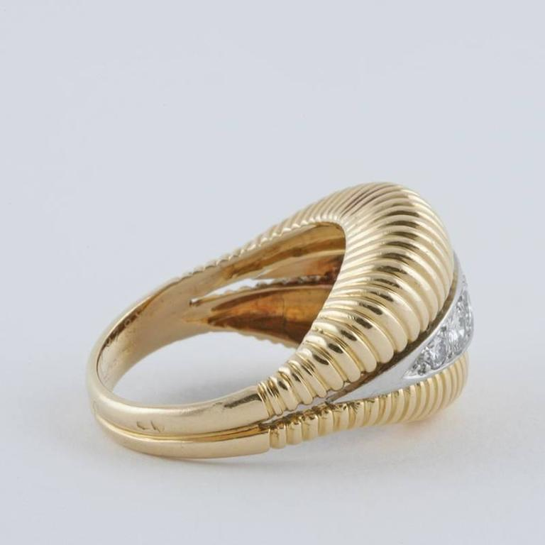 Van Cleef & Arpels 1950's Diamond Gold Platinum Ring For Sale 1