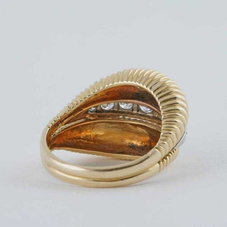 Van Cleef & Arpels 1950's Diamond Gold Platinum Ring For Sale 2